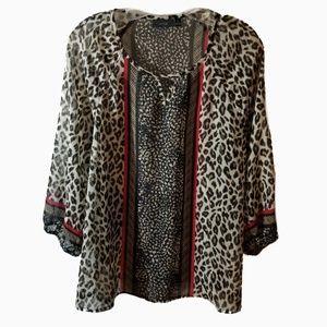 Apt 9 l mixed animal print sheer blouse medium